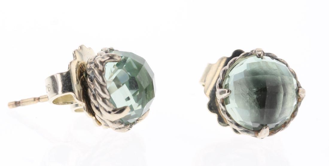 David Yurman Sterling Silver Vintage Peridot Earrings