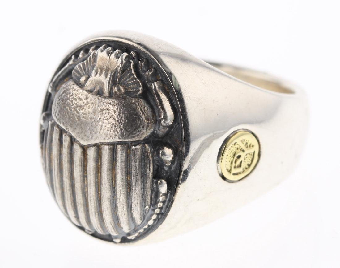 David Yurman Sterling Silver & 22K Gold Beetle Ring