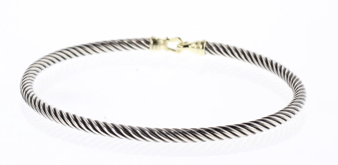 David Yurman Sterling Silver & 18K Gold Buckle Bracelet