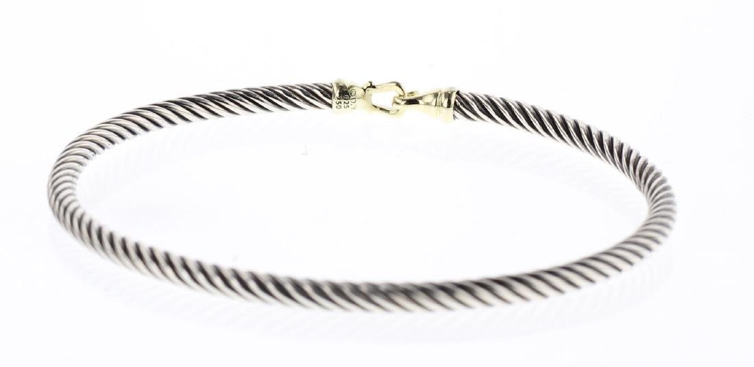 David Yurman Sterling Silver & 18K Gold Buckle Bracelet - 2
