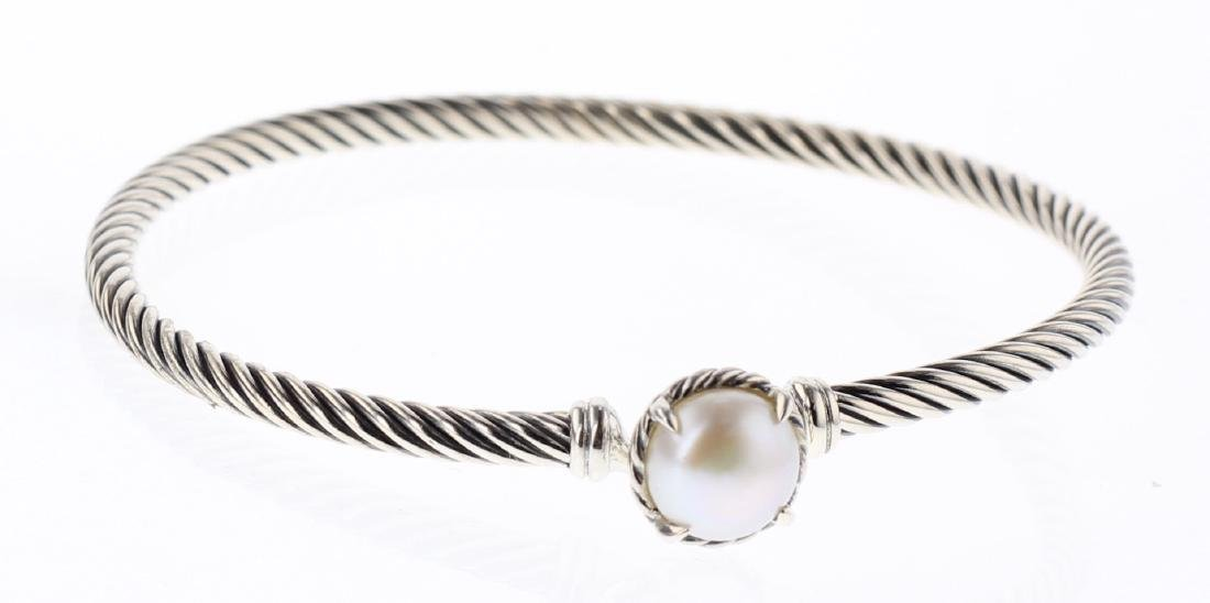 David Yurman Sterling Silver Chatelaine Pearl Bracelet