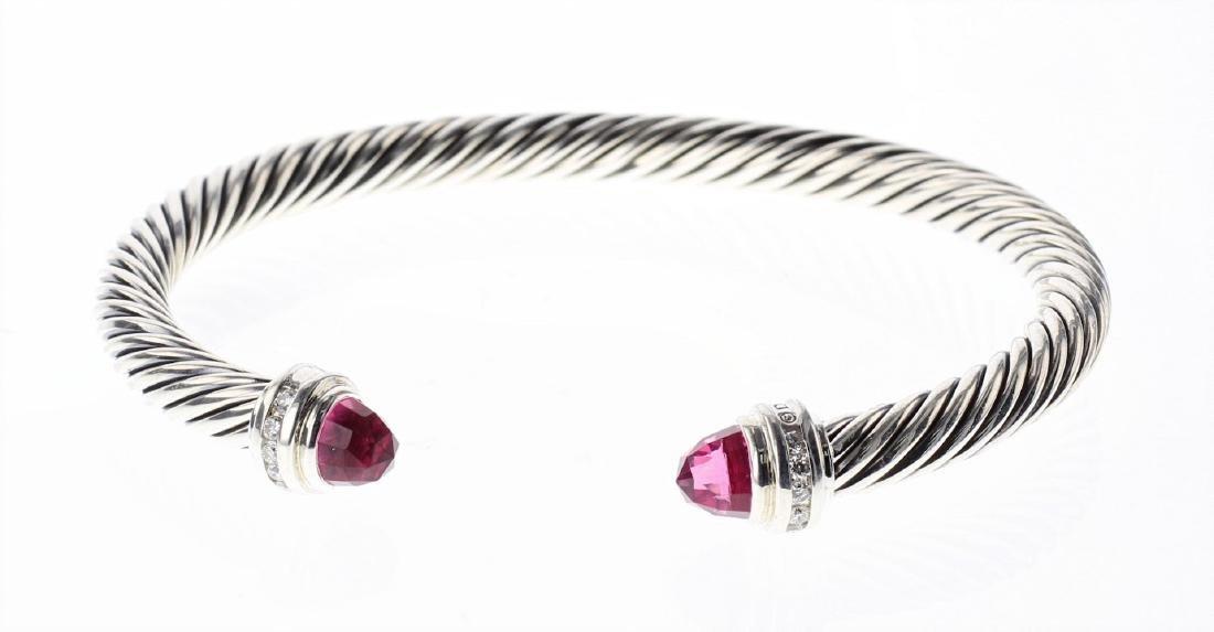 David Yurman Sterling Silver Pink Tourmaline & Diamond