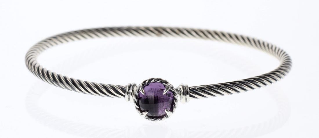 David Yurman Sterling Silver Amethyst Clasp Cable