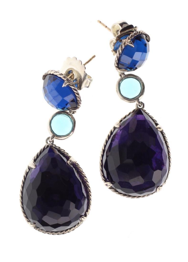 David Yurman Sterling Silver Blue Topaz & Black Orchid