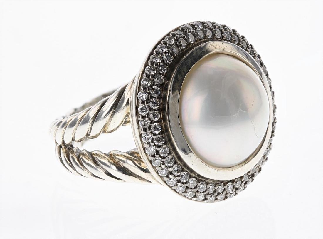 David Yurman Sterling Silver Vintage Diamond & Pearl