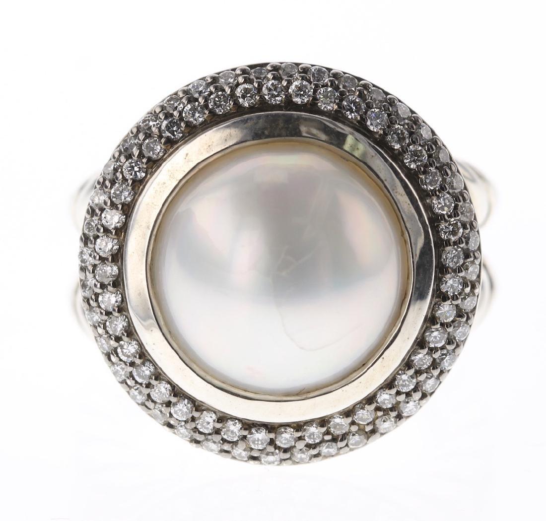 David Yurman Sterling Silver Vintage Diamond & Pearl - 2