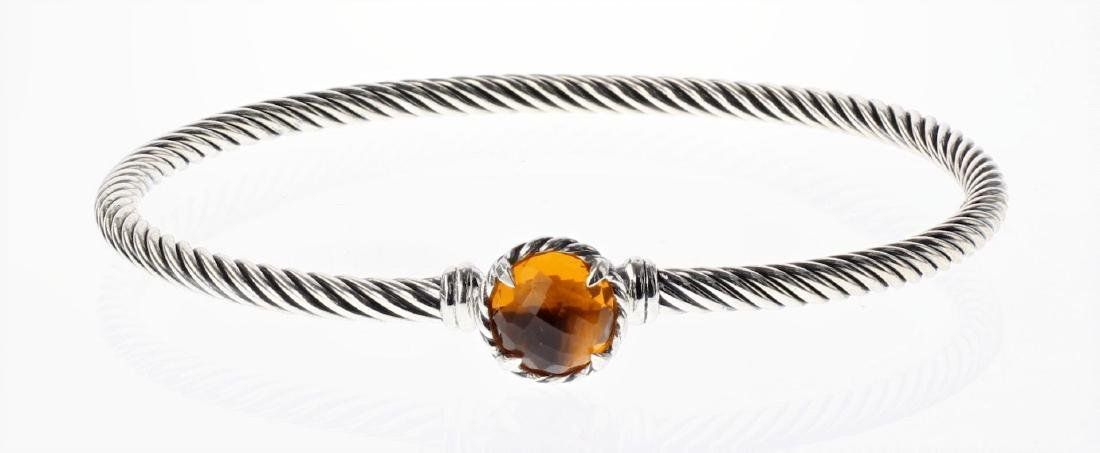 David Yurman Sterling Silver Citrine Cable Buckle