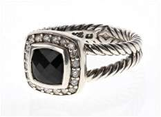 David Yurman Sterling Silver Vintage Onyx & Diamonds