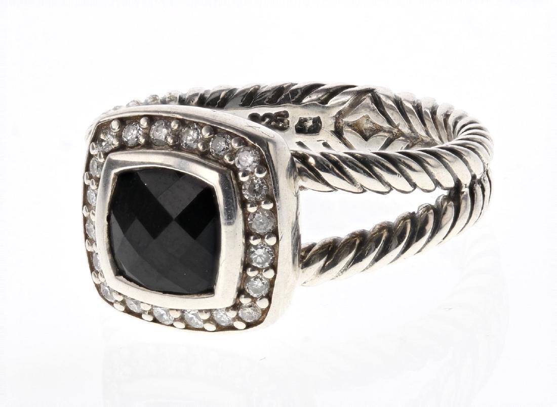 David Yurman Sterling Silver Vintage Onyx & Diamonds