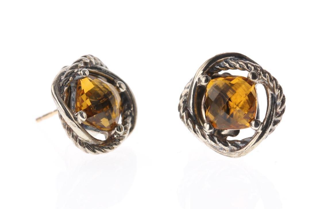David Yurman Sterling Silver Vintage Citrine Earrings
