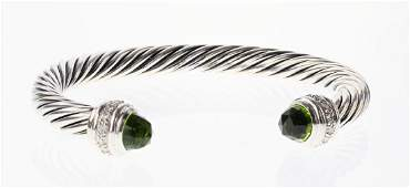 David Yurman Sterling Silver Peridot  Diamonds Classic