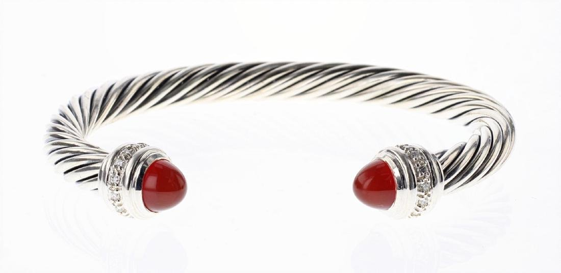 David Yurman Sterling Silver Cornelian & Diamonds Cable