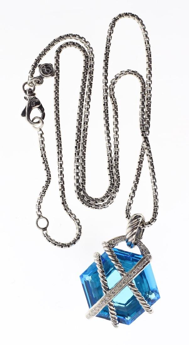 David Yurman Sterling Silver Blue Topaz & Diamonds