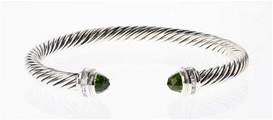 David Yurman Sterling Silver Peridot  Diamonds Cable