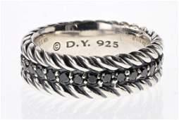 David Yurman Sterling Silver Black Diamonds Men's Band