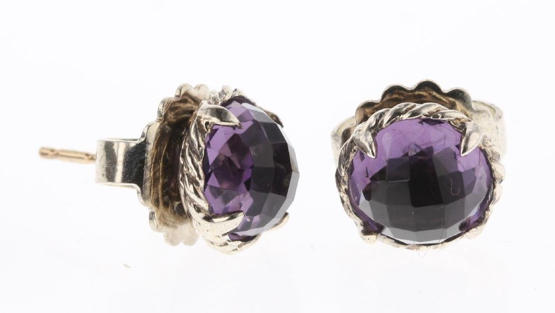 David Yurman Sterling Silver Vintage Amethyst Earrings