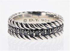 David Yurman Sterling Silver Black Diamond Mens Ring