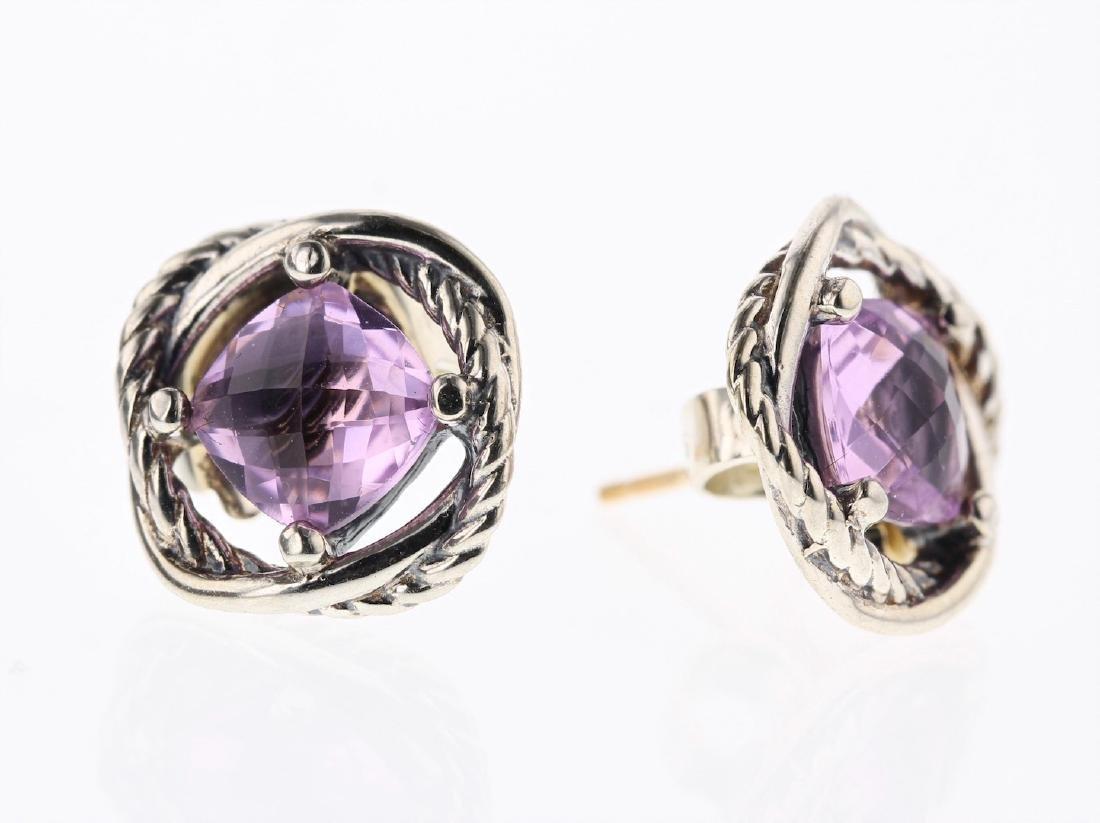 David Yurman Sterling Silver Amethyst Vintage Earrings