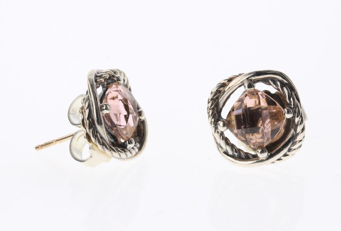 David Yurman Sterling Silver Vintage Morganite Earrings