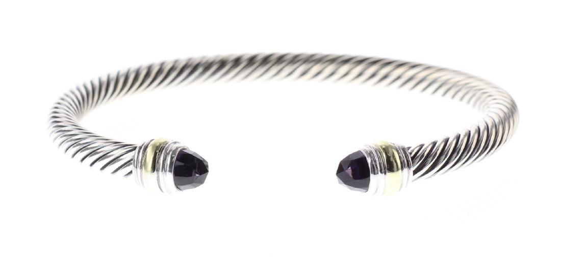 David Yurman Sterling Silver & 14K Gold Amethyst Cable
