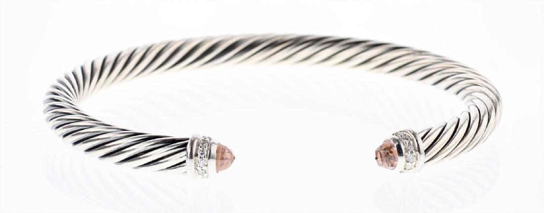 David Yurman Sterling Silver Morganite & Diamonds Cable