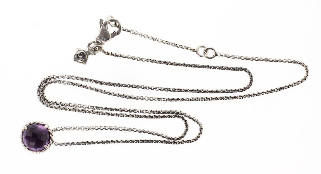 David Yurman Sterling Silver Amethyst Chain & Pendant
