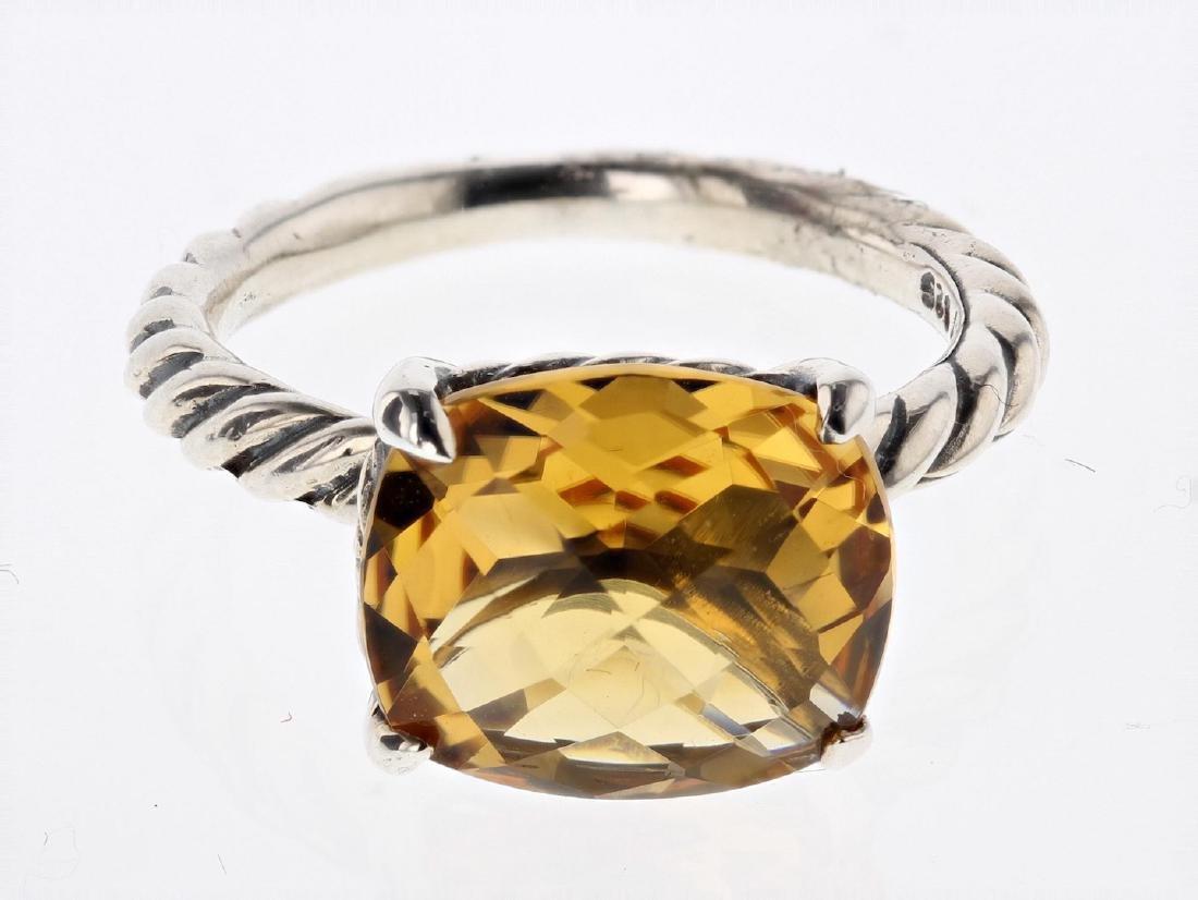 David Yurman Sterling Silver Citrine Color Classic Ring