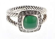 David Yurman Sterling Silver Vintage Emerald & Diamond