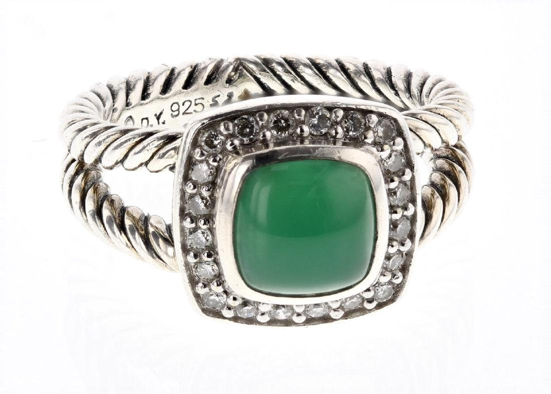 David Yurman Sterling Silver Vintage Emerald & Diamond