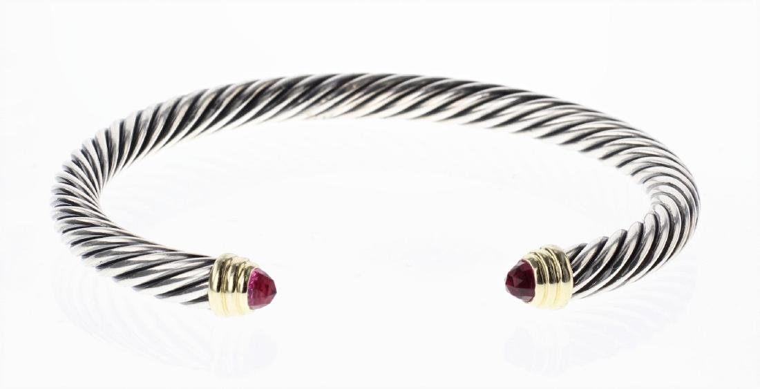 David Yurman Sterling Silver & 14K Gold Cable Bracelet