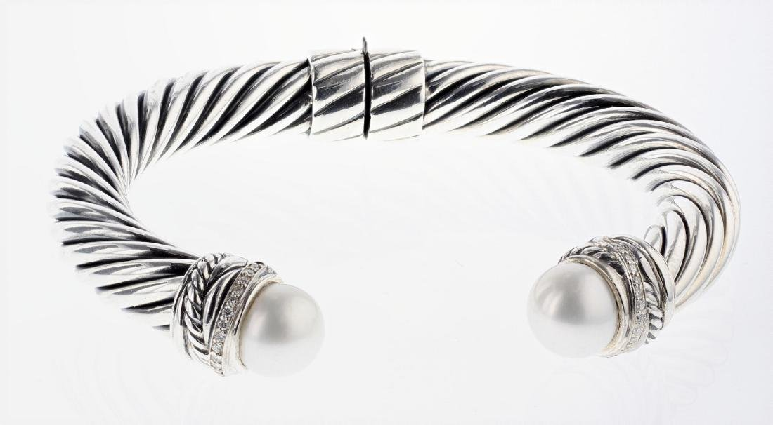 David Yurman Sterling Silver Vintage Pearl & Diamonds