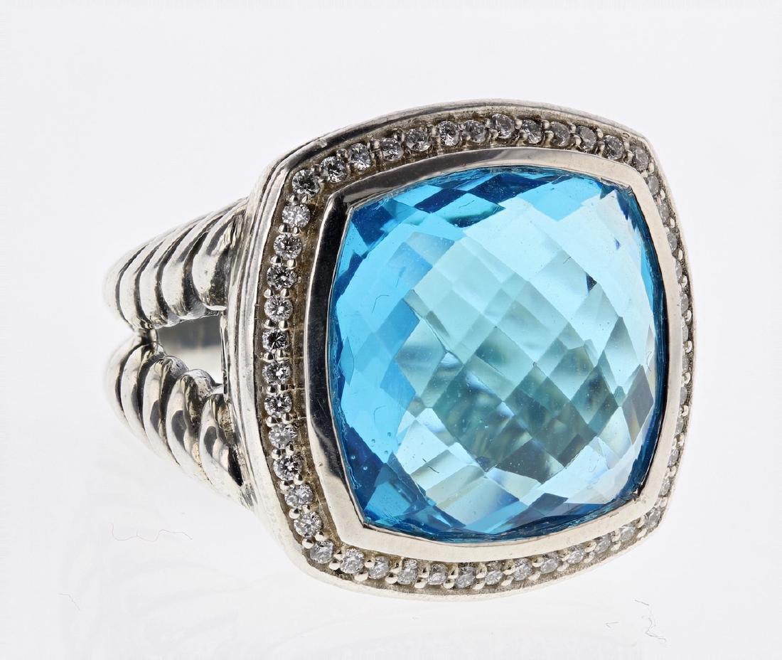 David Yurman Sterling Silver Large Albion Blue Topaz &