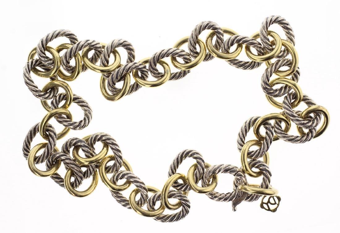 David Yurman Sterling Silver & 18K Gold Oval Chain Link