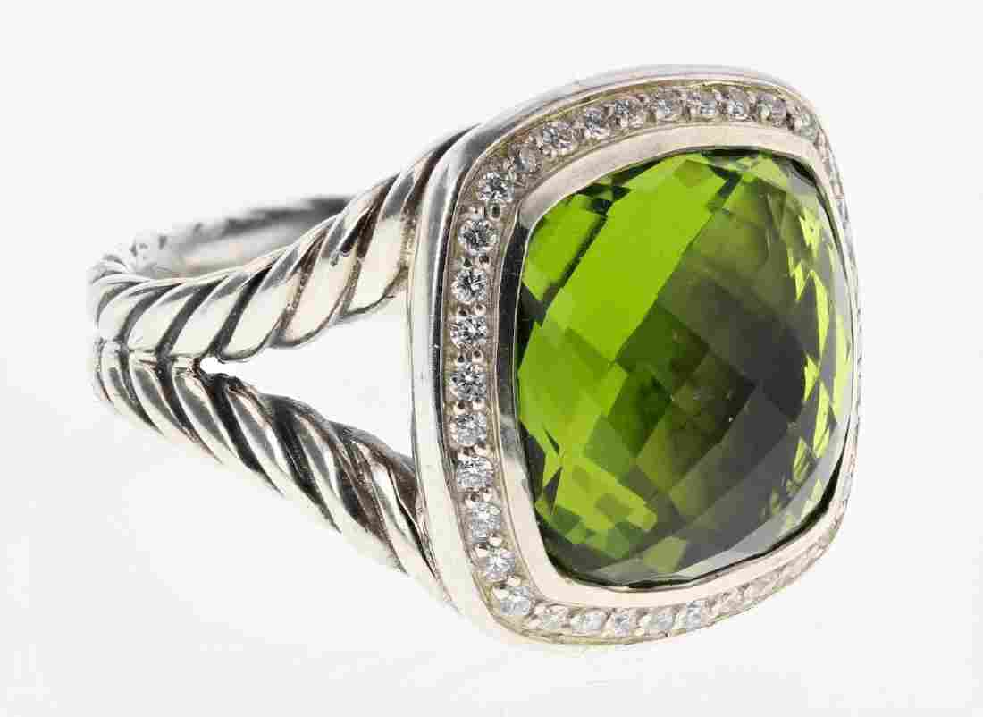 David Yurman Sterling Silver Peridot & Diamonds Classic