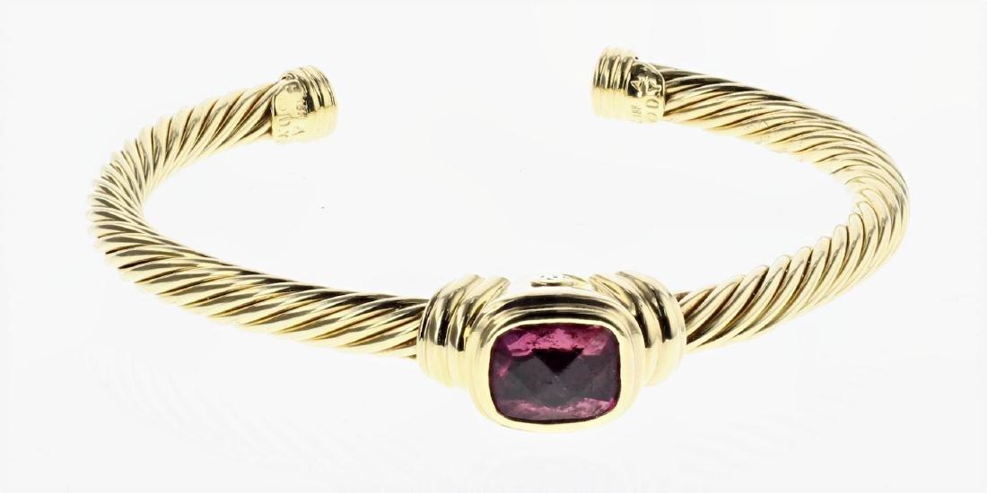 David Yurman Solid 18K Gold Garnet Classic Cable