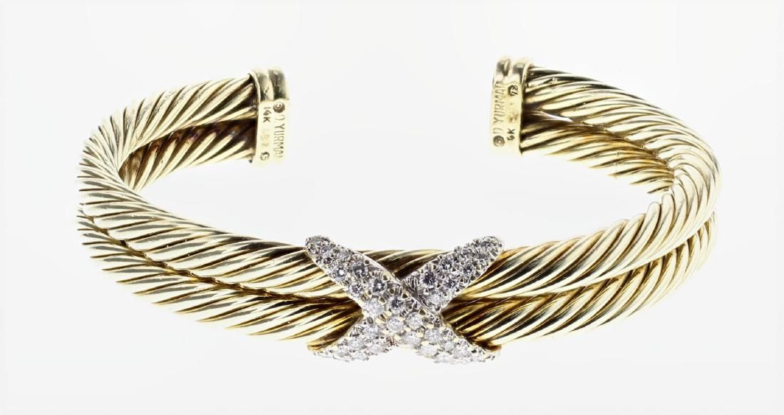 David Yurman Solid 14K Gold Double Cable Diamond X Band