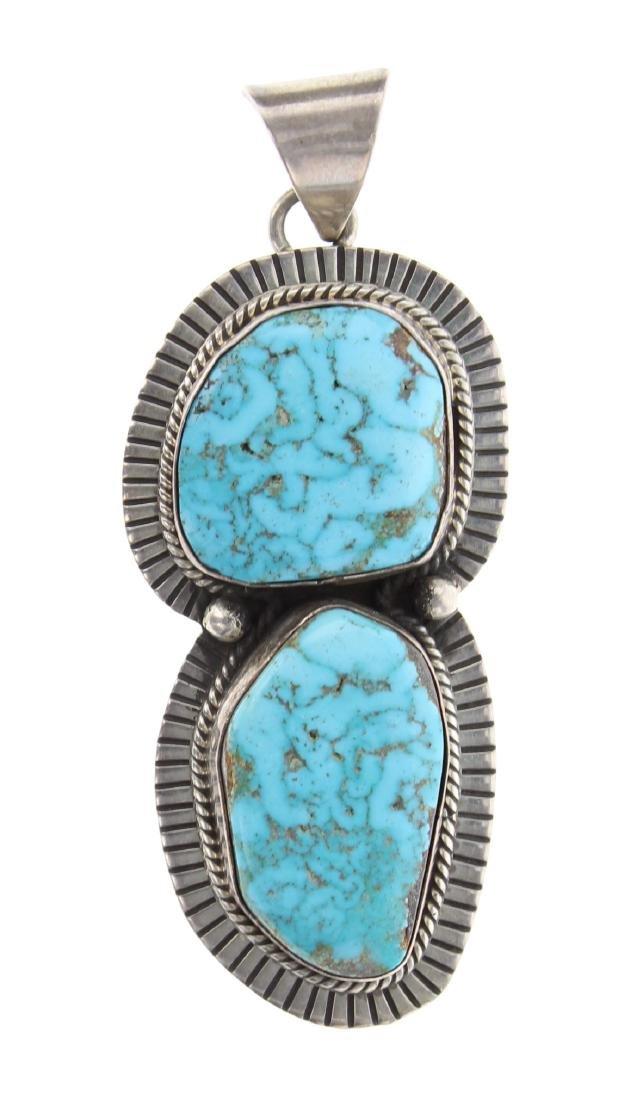 Sterling Silver Genuine Turquoise Vintage Pendant