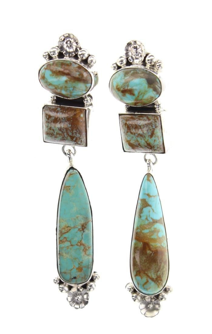 Sterling Silver Genuine Turquoise Contemporary Earrings