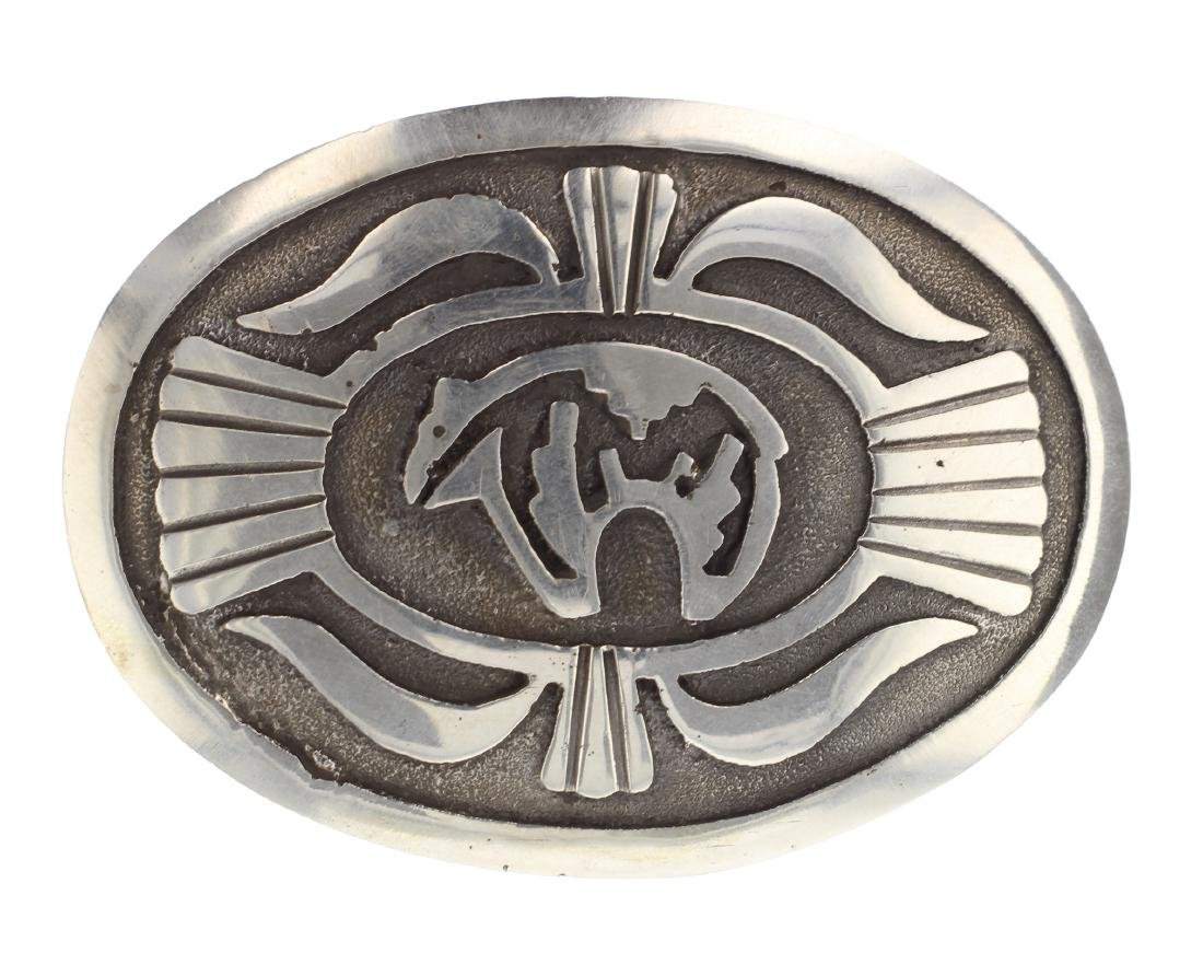 Sterling Silver Vintage Belt Buckle Navajo Native
