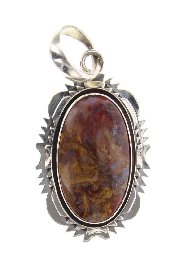Sterling Silver Genuine Petersite Vintage Pendant