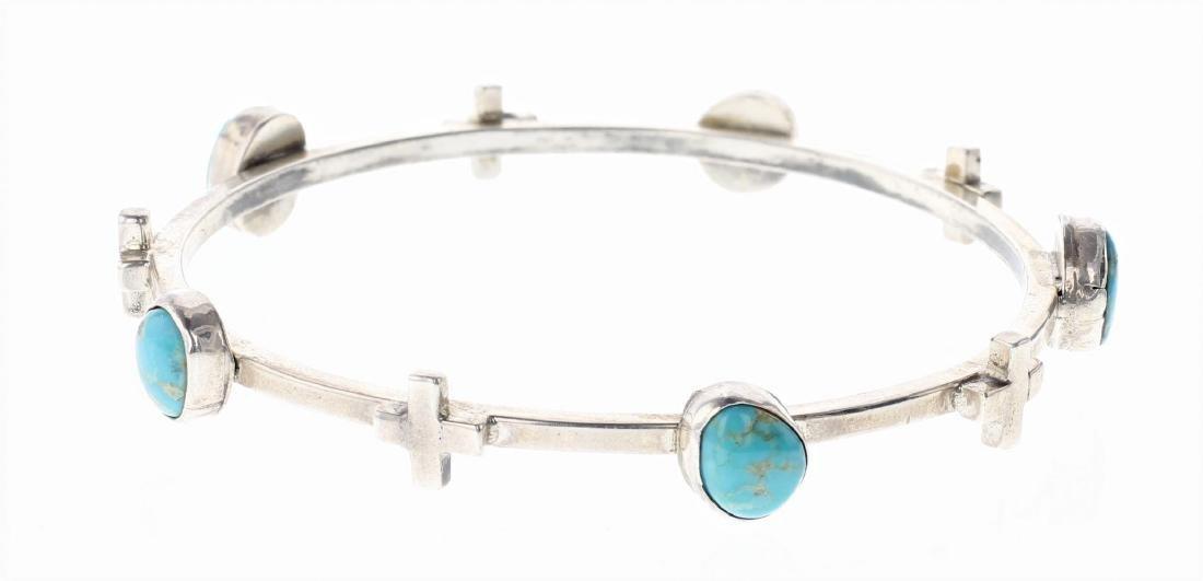 Sterling Silver Genuine Turquoise Bangle Bracelet