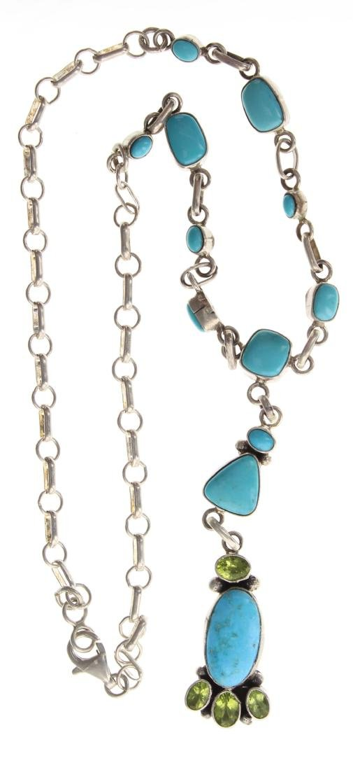 Sterling Silver Genuine Turquoise & Peridot Link Chain