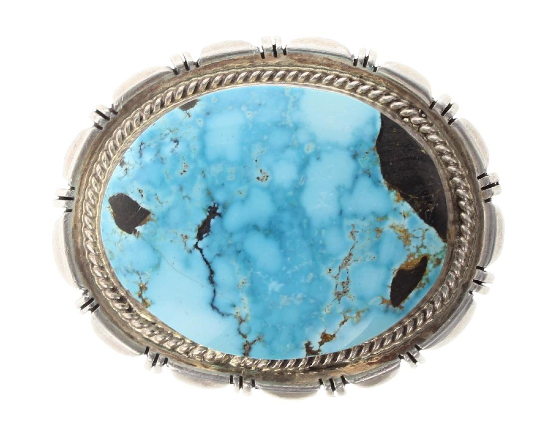 Sterling Silver Genuine Turquoise Vintage Belt Buckle
