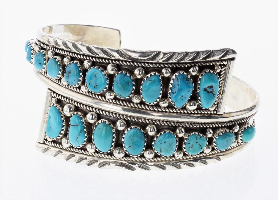Sterling Silver Genuine Turquoise Contemporary Cluster