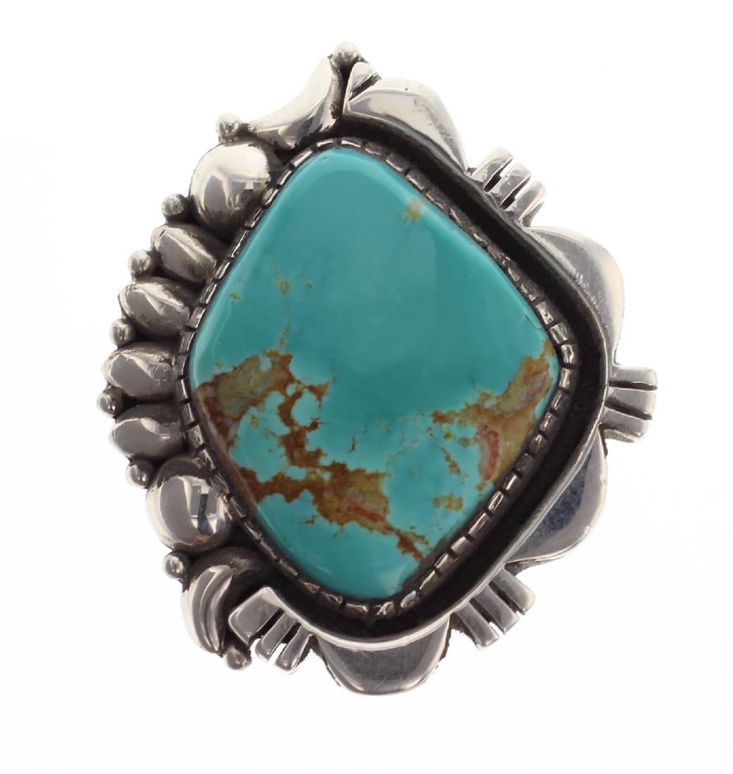 Sterling Silver Genuine Turquoise Large Stone Ring