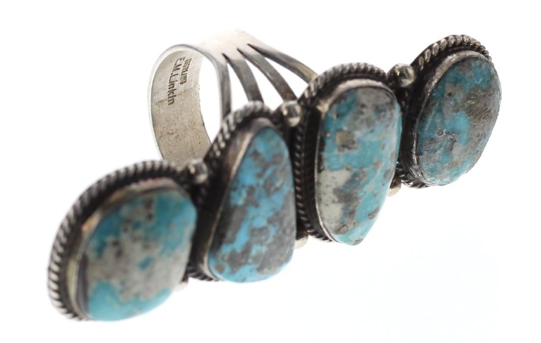 Sterling Silver Genuine Turquoise Vintage Ring Navajo - 3