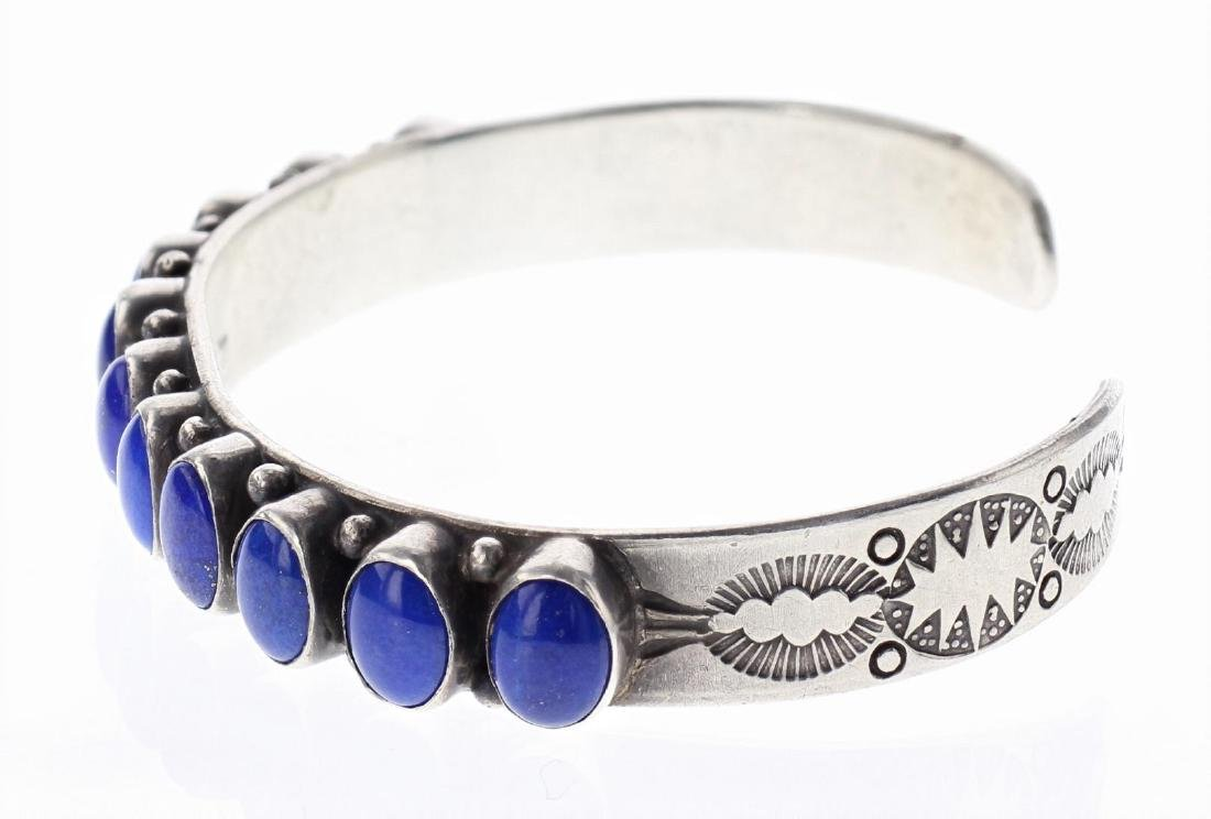 Sterling Silver Genuine Lapis Row Bracelet Southwest - 2