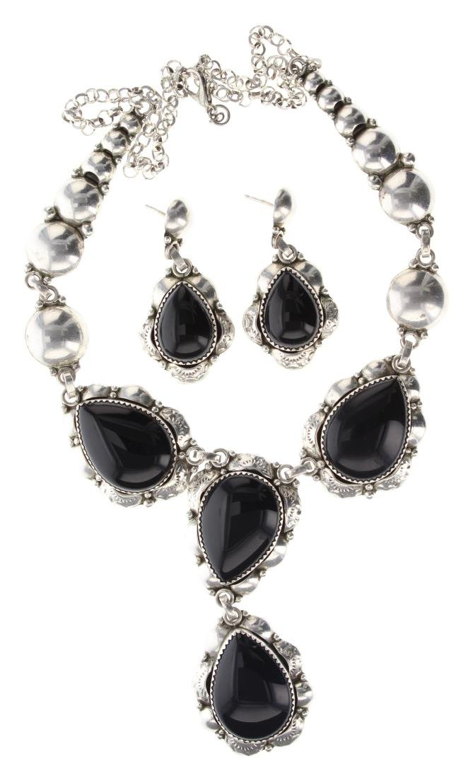 Sterling Silver Black Onyx Contemporary Necklace &