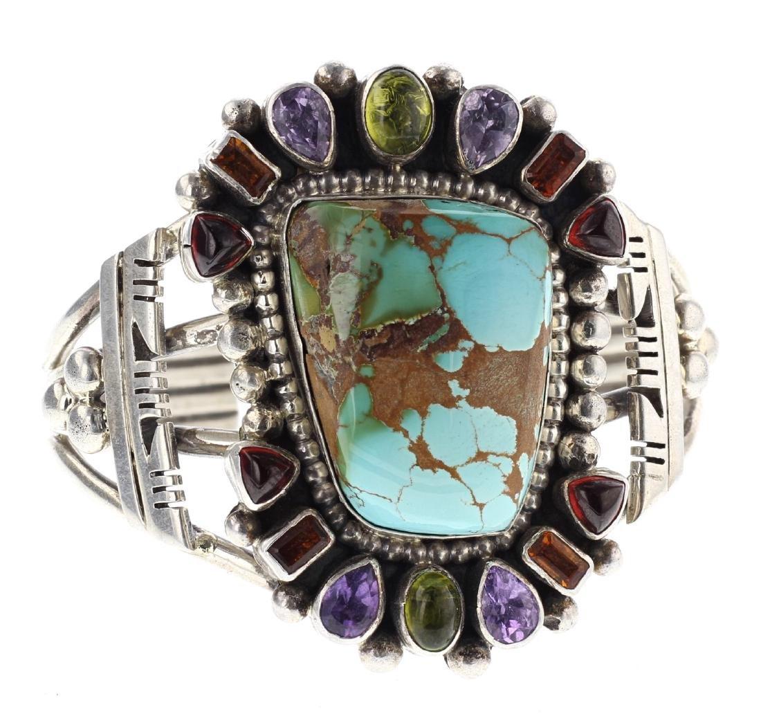 Sterling Silver Genuine Kingman Turquoise & Gemstone