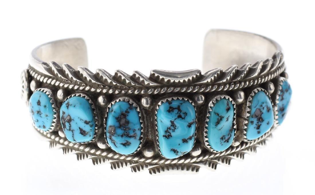 Sterling Silver Genuine Nugget Turquoise Bracelet